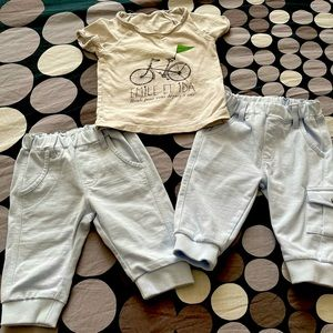 Set of three(two truck pants and one t-shirt)